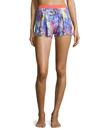 Farfalla Front-Pleated Boxer Shorts, Gray Print