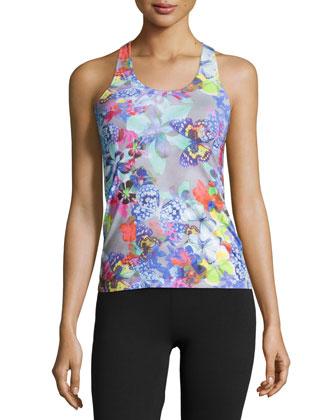 Farfalla Sleeveless Pajama Camisole, Gray Print
