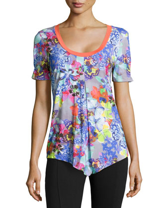 Farfalla Short-Sleeve Pajama Top, Gray Multi