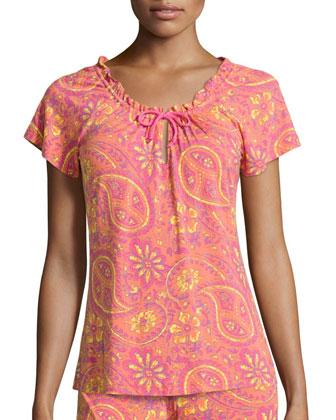 Nidia Paisley Pajama Top, Persimmon