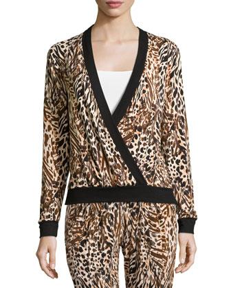 Sapna Long-Sleeve Crossover Pajama Top, Brown Print