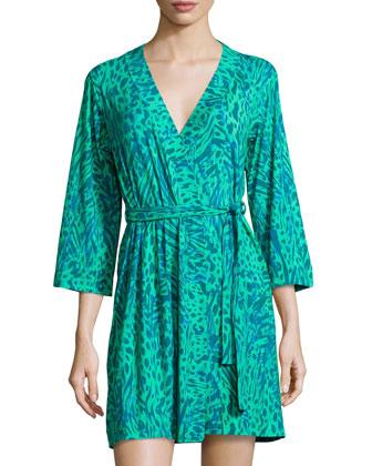 Sapna 3/4-Sleeve Robe, Bright Jade
