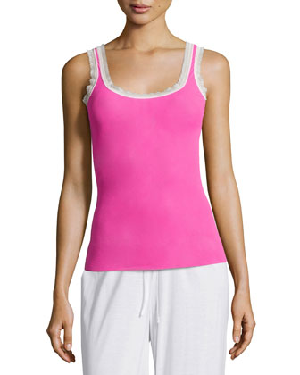 Dream Lace-Trimmed Camisole, Shock Pink/White