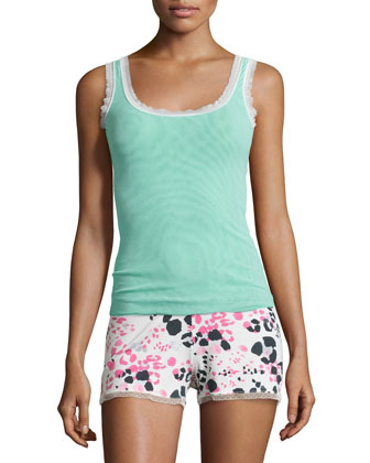 Sleeveless Dream Lounge Camisole, Venet Green/White