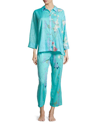 Sakura Two-Piece Floral-Print Pajama Set, Light Blue