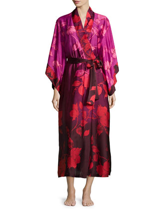 Sophia Floral-Print Lace-Trim Gown & Wrap Robe