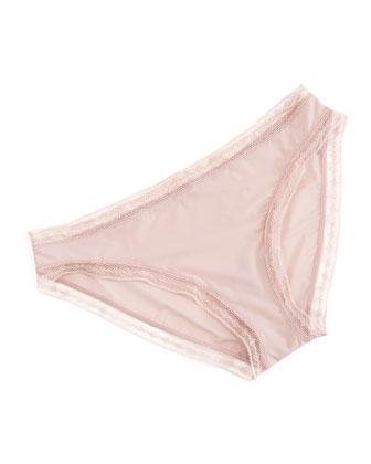 Satin Seduction Lace-Trim Bikini Briefs, Havane Rose