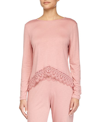 Edith Lace-Trim Long-Sleeve Lounge Top