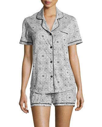 Bella Printed Short-Sleeve Shorty Pajama Set, Light Gray/Black