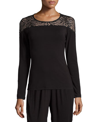 Orsay Long-Sleeve Lounge Top, Black