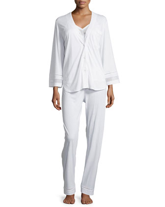 Spa Eyelet-Trim Three-Piece Pajama Set, White