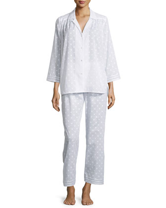 Spa Polka-Dot Long-Sleeve Pajama Set, White