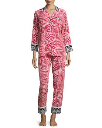 Sahara Printed Long-Sleeve Pajama Set, Red