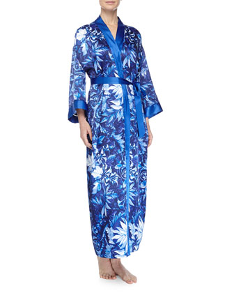 Twilight Vines Printed Charmeuse Robe & Long Gown