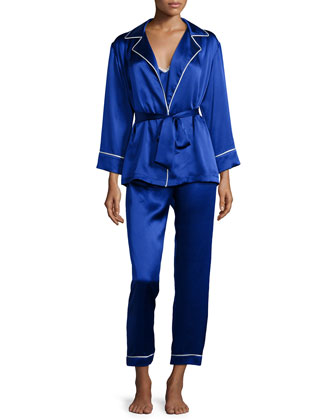 Contrast-Trim 3-Piece Pajama Set, Egyptian Blue