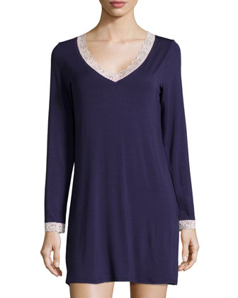 In the Mood Lace-Trim Long-Sleeve Sleep Shirt, Eclipse/Shell