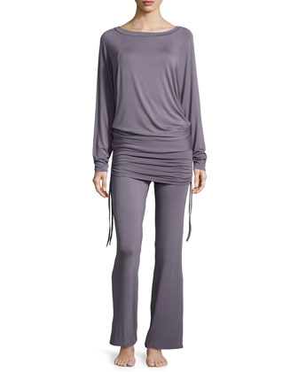 Lounge with Me Batwing Top and Wide-Leg Pant PJ Set, Gray Lavender ...