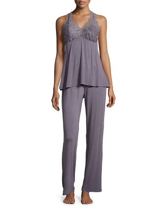 Belle Epoque Lace-Inset Pajama Set, Gray Lavender