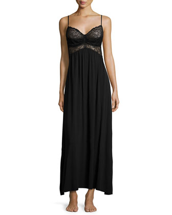 Sleeveless Lace-Bodice Nightgown, Black