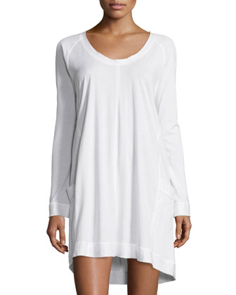 Scoop-Neck Long-Sleeve Sleepshirt, White
