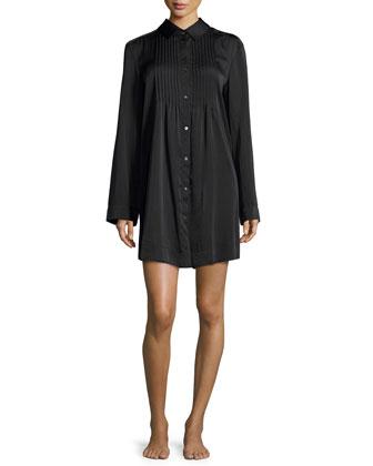 Laundered Satin Long-Sleeve Sleepshirt, Black