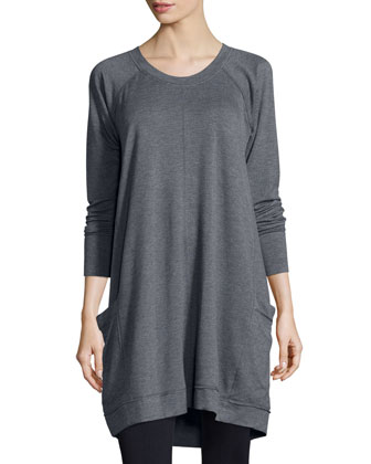 Long-Sleeve French-Terry Sweater, Dark Gray