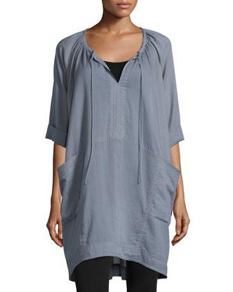 Short-Sleeve Batiste Sleepshirt, Gryst