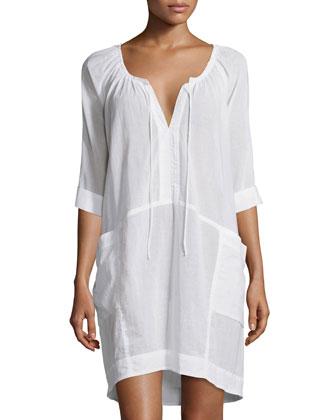 Short-Sleeve Batiste Sleepshirt, White
