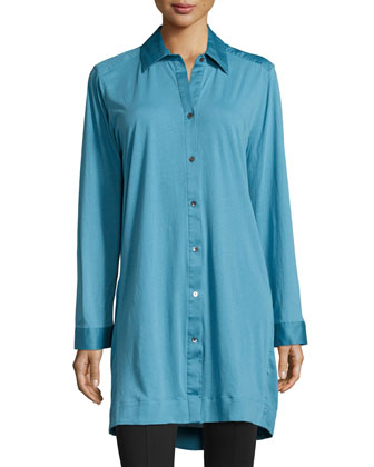 Long-Sleeve Button-Front Sleepshirt, Sky Blue