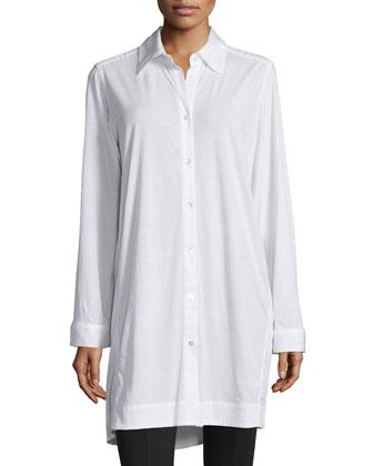 Long-Sleeve Button-Front Sleepshirt, White