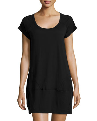 Short-Sleeve Round-Neck Sleepshirt, Black