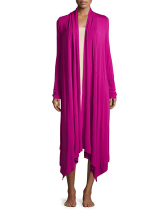 Long-Sleeve Draped-Front Robe, Fuchsia