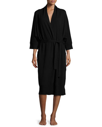 Long-Sleeve Wrap-Front Robe, Black