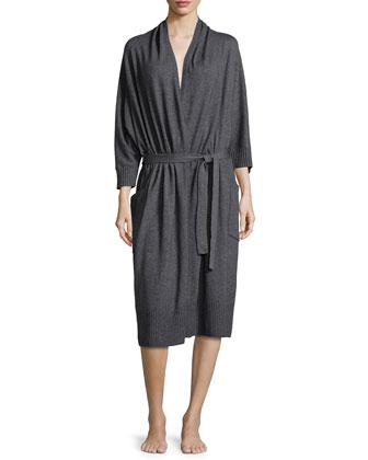Long-Sleeve Wrap-Front Robe, Dark Gray