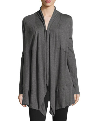 Draped-Front Long-Sleeve Wrap Cardigan, Dark Gray
