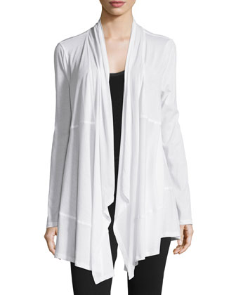 Draped-Front Long-Sleeve Wrap Cardigan, White