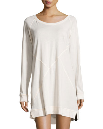 Long-Sleeve Asymmetric-Seam Sleepshirt, Pink