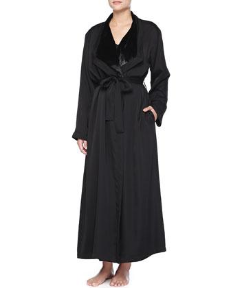 Laundered Satin Plush-Lined Robe