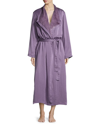 Laundered Satin & Faux-Fur Robe, Lilge