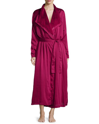 Laundered Satin & Faux-Fur Robe, Ruby