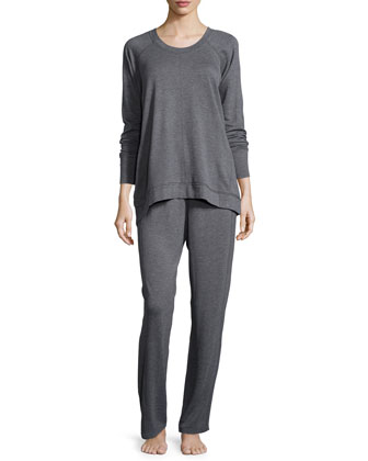 French Terry Long-Sleeve Pajama Set, Dark Gray