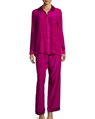 Glamour Charmeuse Pajama Set, Fuchsia