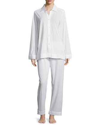 Pima Cotton Pajama Set, White