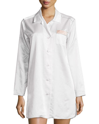 St. Tropez Long-Sleeve Nightshirt, White/Silver/Melon