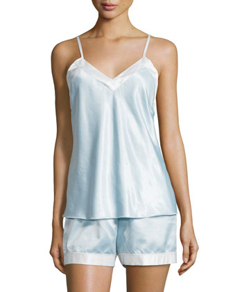 Casarina Contrast-Trim Short Pajama Set, Ice Blue/White
