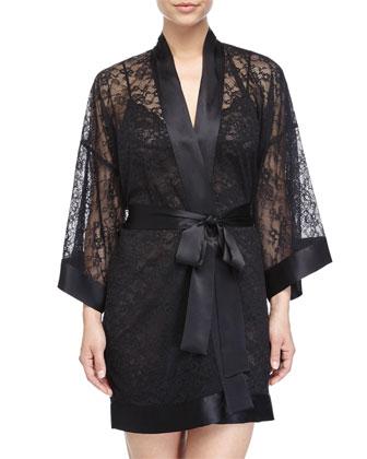 Sophia Lace Short Robe, Kohl