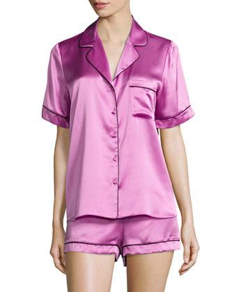Contrast-Piped Shorty Pajama Set, Orchid