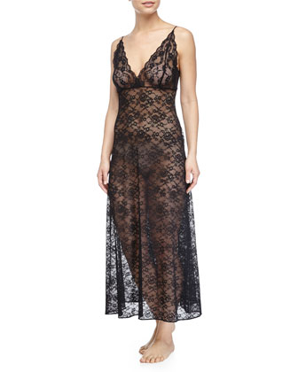 Sheer Stretch-Lace Long Gown, Kohl