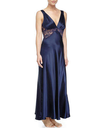 Midnight Lace-Inset Long Gown, Navy