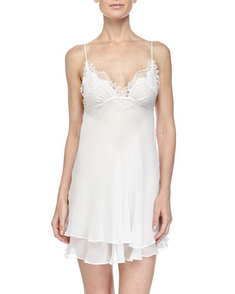 Diva Layered Lace-Trim Chemise, Pearl